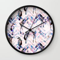 Zebras in bloom Wall Clock