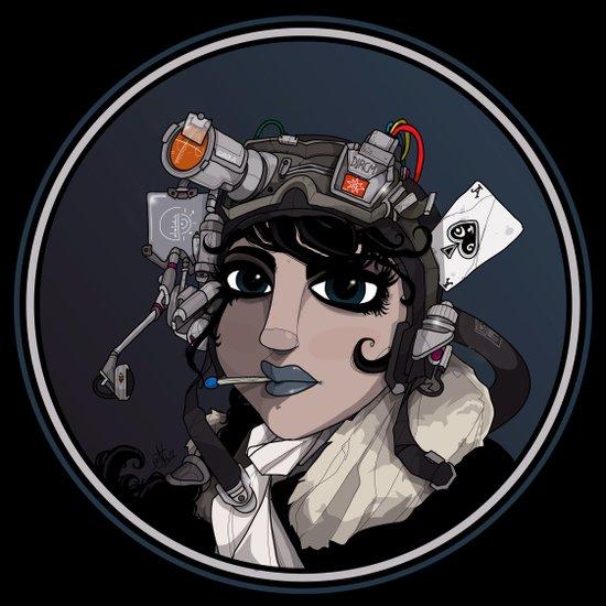 Sci-Fi Flying Ace Girl. Art Print