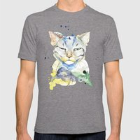 Suspicious Cat Mens Fitted Tee Tri-Grey SMALL