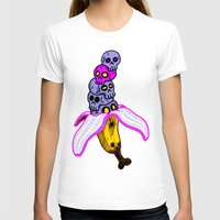 Death by Banana Womens Fitted Tee White SMALL