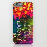 BLOOM WHERE YOU'RE PLANTED Floral Garden Typography Colorful Rainbow Abstract Flowers Inspiration iPhone 6 Slim Case