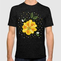 Abstract Yellow Primrose… Mens Fitted Tee Tri-Black SMALL