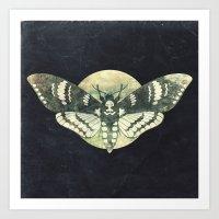 Moth And Moon Art Print