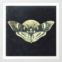 Moth And Moon Art Print