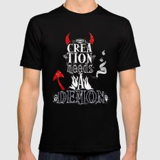 CREATION NEEDS A DEMON SMALL Black Mens Fitted Tee