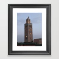 Marrakech, Morocco. Glowing Mosque Framed Art Print