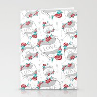 Heart Tattoo pattern Stationery Cards