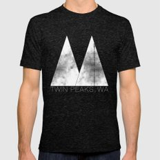 Twin Peaks, WA (White Lodge) Mens Fitted Tee Tri-Black SMALL