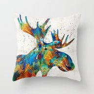 Throw Pillow featuring Colorful Moose Art - Con… by Sharon Cummings