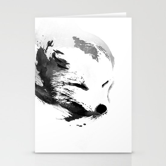 White Fox Stationery Card