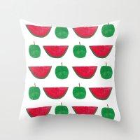 Watermelon & Apple Throw Pillow