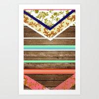 chevron  wood design Art Print