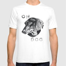oh my dog ! White SMALL Mens Fitted Tee