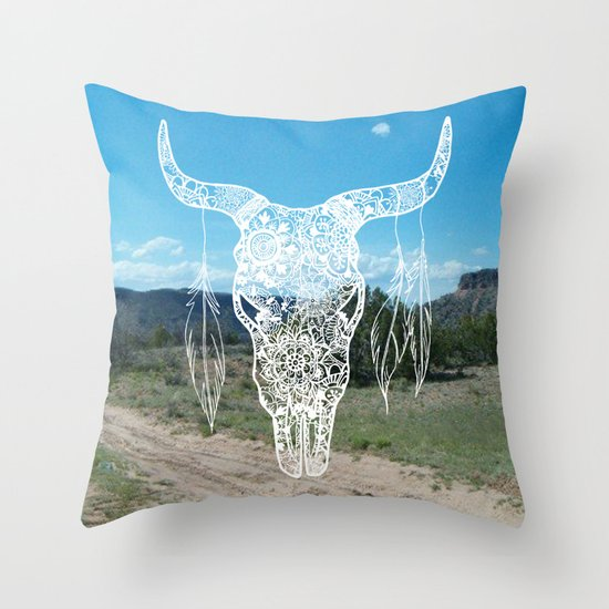 new mexico southwestern bull skull throw pillow