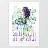 Mermaid : Profound Depth… Art Print
