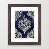 Cream Floral Moroccan Pattern on Deep Indigo Ink Framed Art Print