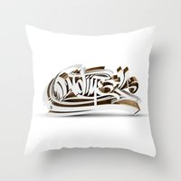 3D GRAFFITI - NO TIME Throw Pillow
