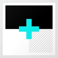 Neon Cross (Blue) // Neo… Art Print