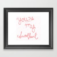 Sweetheart // Red Framed Art Print