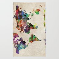 Rug featuring World Map Urban Watercol… by ArtPause