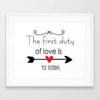 Love Is To Listen Framed Art Print