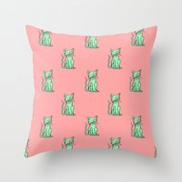 Crazy Cat (Green/Red) Throw Pillow