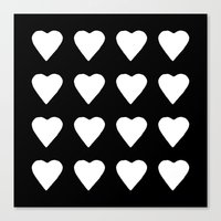 16 Hearts White On Black Canvas Print