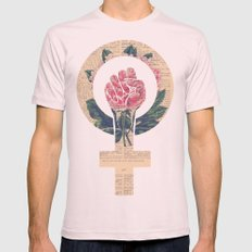 Respect, equality, women's liberation. Feminism Power Fist / Raised Fist Mens Fitted Tee Light Pink SMALL