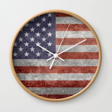 The United States of America Flag, Authentic 10:19 G-spec Desaturated version Wall Clock