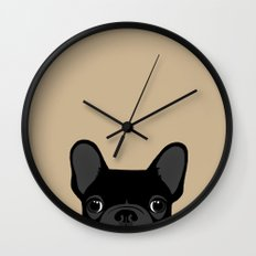 French Bulldog - Black on Tan Wall Clock