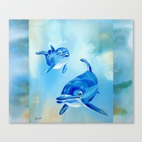 Floating Free - Dolphins Canvas Print