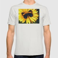 Butterfly On Yellow Mens Fitted Tee Silver SMALL