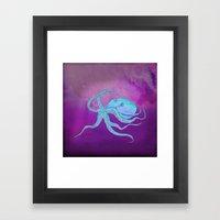 Octopus Swims Framed Art Print