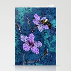 Bee on Linseed Flowers Stationery Cards