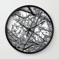 Snow Covered Branches Wall Clock