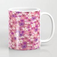 Retro Pink Flowers Mug