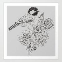 Cole Tit & Roses // Hand Drawn Print Art Print