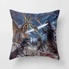 Godzilla Destroy all Monsters Monster Island Kaiju battle Throw Pillow