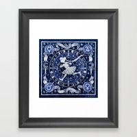 Moon Star Chart Framed Art Print