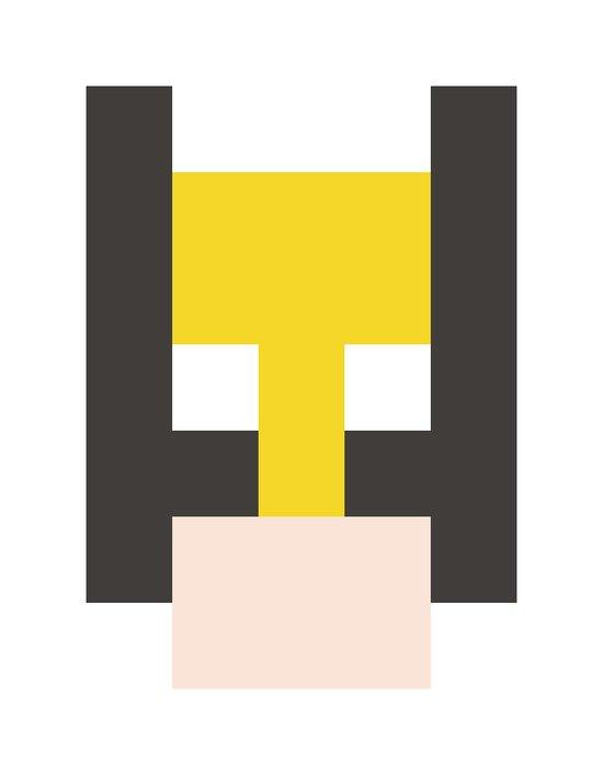 hero pixel yellow black flesh Art Print