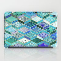 Sapphire & Emerald Diamond Patchwork Pattern iPad Case