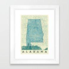 Alabama State Map Blue Vintage Framed Art Print