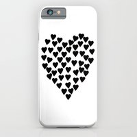 iPhone & iPod Case featuring Hearts Heart Black and White by Project M