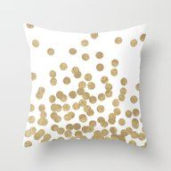Gold Glitter Dots In Sca… Throw Pillow