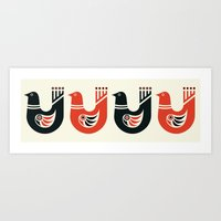 Folk Art Birds: Black and Red Art Print