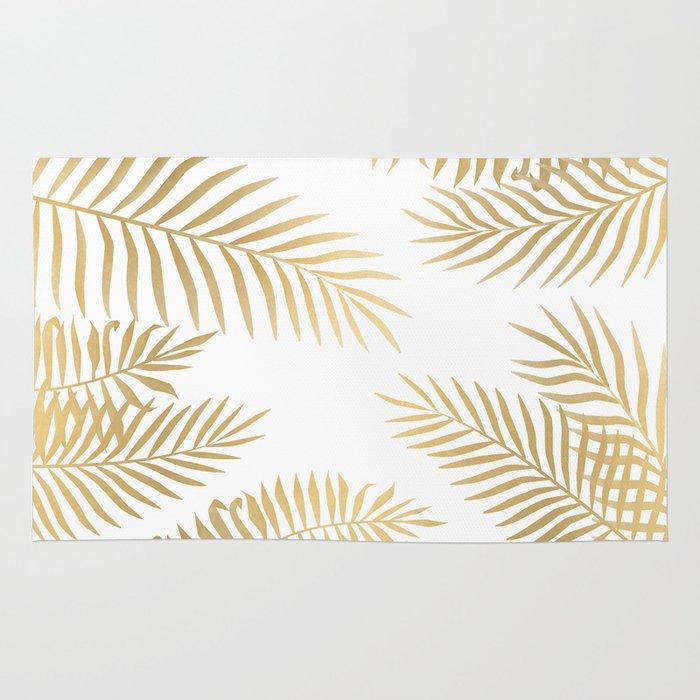 gold palm leaves rug by marta olga klara society6. Black Bedroom Furniture Sets. Home Design Ideas