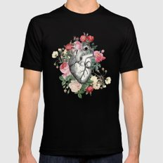 Roses for her Heart Black SMALL Mens Fitted Tee