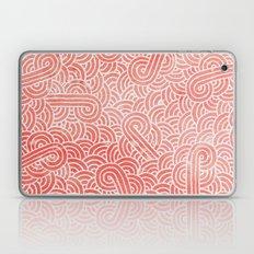 Peach echo and white swirls doodles Laptop & iPad Skin