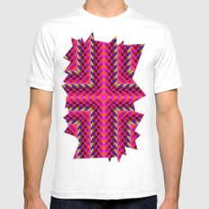 Pink SMALL Mens Fitted Tee White