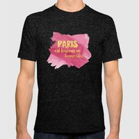 Paris is Always a Good Idea Mens Fitted Tee Tri-Black SMALL